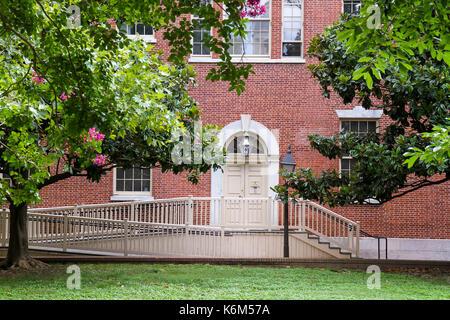 Handicap-accessible entrance to Carpenters' Hall, Independence National Hostorical Park, Philadelphia, Pennsylvania, - Stock Photo