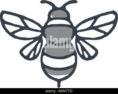 Mono line icon style illustration of a bumblebee or bumble bee, a member of the genus Bombus, part of Apidae on - Stock Photo