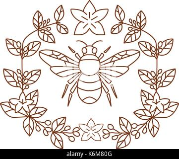 Icon style illustration of Bumblebee  member of genus Bombus, part of Apidae with open wing and framed with Coffee - Stock Photo