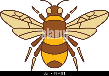Icon style illustration of Bumble Bee Bumblebee  member of genus Bombus, part of Apidae with open wing on isolated - Stock Photo