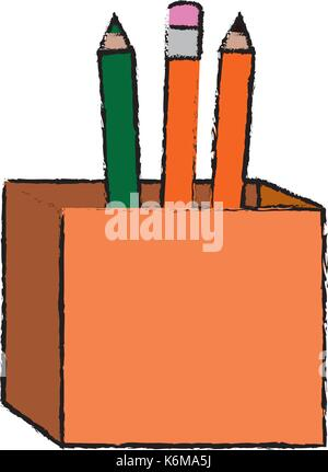 pencils box packing icon vector illustration design - Stock Photo