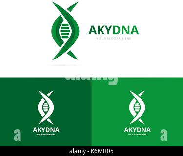 Vector of dna and genetic logo combination. Science and helix symbol or icon. Unique spiral and evolution logotype - Stock Photo