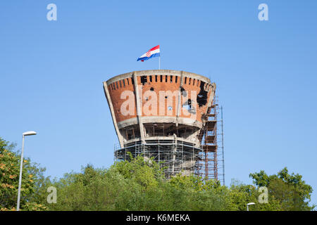 VUKOVAR, CROATIA - AUGUST 25, 2017: Water tower from Vukovar, with bullet and missile holes from the 1991-1995 conflict, - Stock Photo