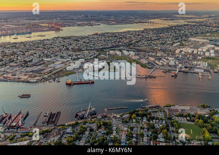 Aerial View Port Of NY And NJ  - Aerial view the New York / New Jersey Harbor and the industrial section of Bayonne, - Stock Photo