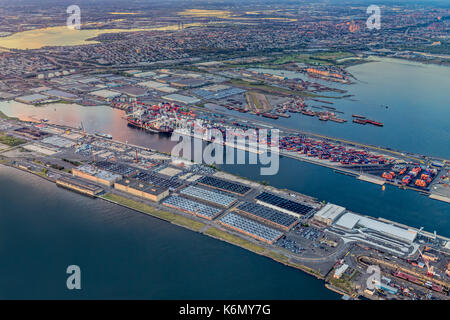 Aerial View of the Bayonne Container Terminal and industrial area in New Jersey. - Stock Photo