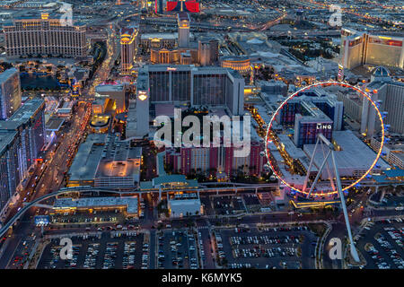 Las Vegas Strip Aerial -  Aerial view of the High Roller Ferris Wheel and the Las Vegas Strip in Paradise, Nevada. - Stock Photo