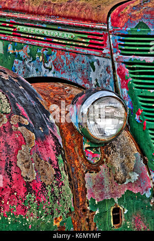 International Truck Details II - Colorful rust and textures embody this vintage early 1900's abandoned truck in - Stock Photo