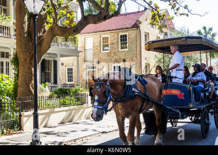 South Carolina, SC, Charleston, historic Downtown, Queen Street, guided tour, horse-drawn carriage, sightseeing - Stock Photo