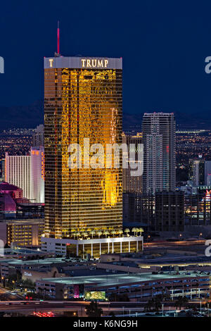 Trump International Hotel Las Vegas - Aerial view of the Trump Hotel with a warm glow from the setting sun against - Stock Photo