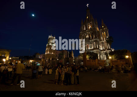 San Miguel de Allende, Guanajuato, Mexico - 2013: La Parroquia de San Miguel Arcángel is a neo-gothic style church - Stock Photo