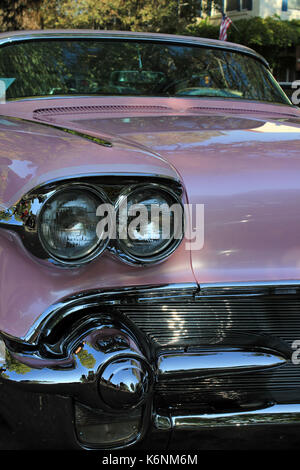 pink cadillac at classic car at Fairfax California car show - Stock Photo