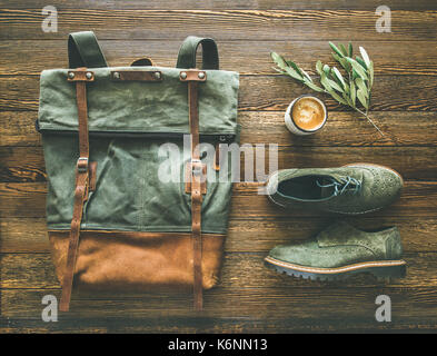 Flat-lay of woman's fall accessories and coffee - Stock Photo
