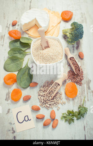 Vintage photo, Ingredients or products containing calcium and dietary fiber, natural sources of minerals, healthy - Stock Photo