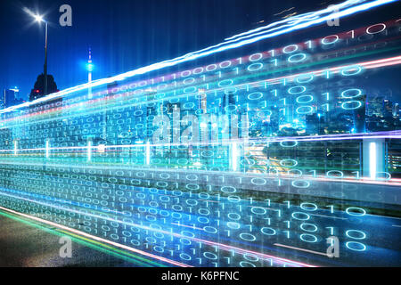 Highway flyover with binary code numbers on motion blurred asphalt  road , speed and faster digital matrix technology - Stock Photo