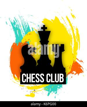 bright logo for a chess companies, club or   player. Emblem vector illustration on the colorful background - Stock Photo