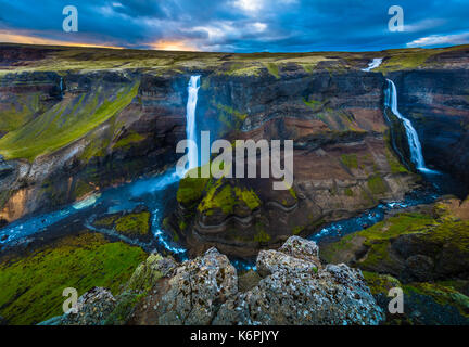 The waterfall Háifoss is situated near the volcano Hekla in the south of Iceland. The river Fossá, a tributary of - Stock Photo