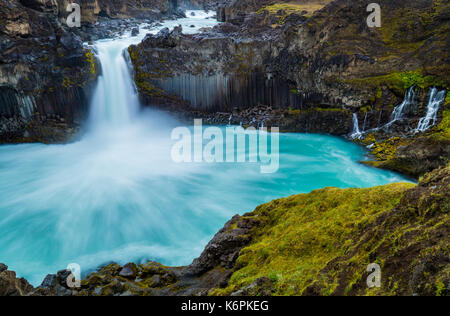 The Aldeyjarfoss waterfall is situated in the north of Iceland at the northern part of the Sprengisandur Highland - Stock Photo