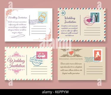Vintage wedding postcard vector templates old vector marriage stock vintage wedding postcard vector templates old vector marriage invitation postale cards for scrapbook or save stopboris Choice Image