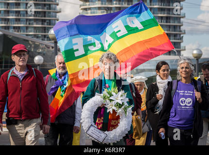 London, UK. 12th Sept, 2017. Anti-war protests continue against DSEi Arms Fair (Defence & Security Equipment International) - Stock Photo