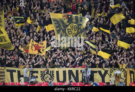 London, UK. 13th Sep, 2017. Dortmund's fans before the Champions League Group Phase Match between Borussia Dortmund - Stock Photo