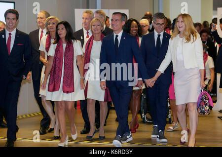 Lima, Peru. 13th Sep, 2017. Executive President of the Paris 2024 delegation Tony Estanguet (L), Paris Mayoress - Stock Photo