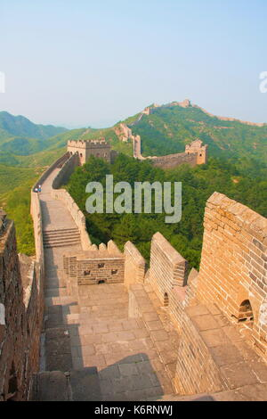 Treking and walking The Great Wall in summer time. Beijing , China - Stock Photo