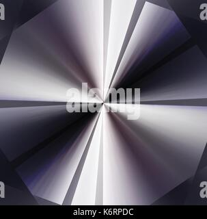 abstract black and white blended folded paper background with light and shadow look like a fanlight and shade in - Stock Photo