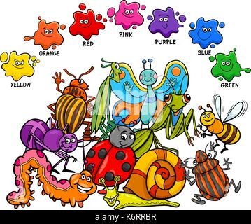 Cartoon Illustration of Primary Basic Colors Educational Page for Children with Insects Animal Characters - Stock Photo
