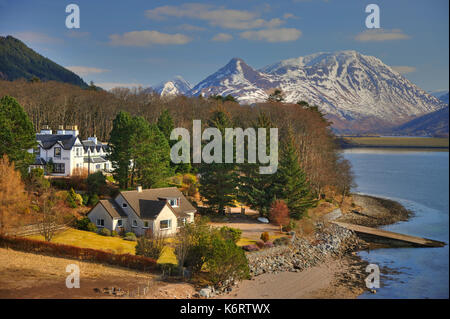 Winter view towards the Pap of Glencoe and Loch Leven from North Ballachulish,West Highlands - Stock Photo