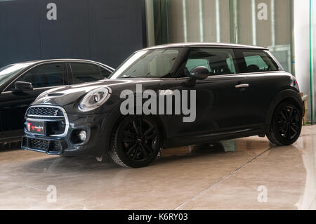 Mini Cooper S after modification with a new body kit in the showroom of U2 cars in the Fengyiqiao area of Beijing. - Stock Photo