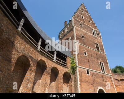 A view of the inner courtyard of a castle. - Stock Photo