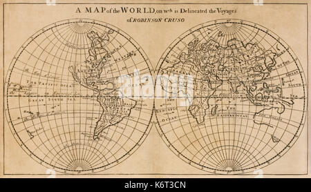 """'A Map of the World on which is Delineated the Voyage of Robinson Crusoe' frontispiece foldout map from """"The Farther - Stock Photo"""