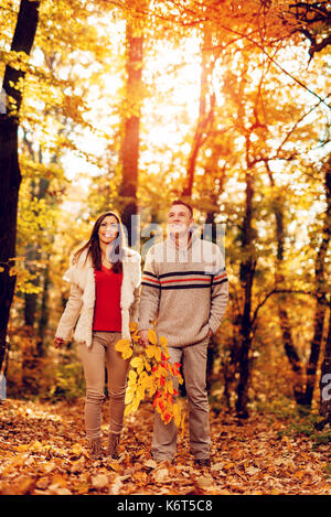 Beautiful smiling couple walking in sunny forest in autumn colors. - Stock Photo