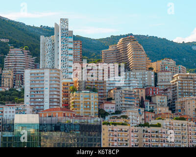 A picture of the many residential high-rise buildings in Monaco. - Stock Photo