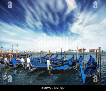Gondolas on Grand canal in Venice, San Giorgio Maggiore church. San Marco. Beautiful summer landscape - Stock Photo