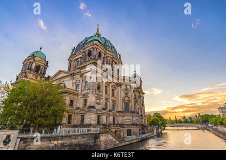 Berlin sunset city skyline at Berlin Cathedral (Berliner Dom), Berlin, Germany - Stock Photo
