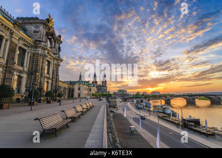 Dresden sunset city skyline at Elbe River and Augustus Bridge, Dresden, Germany - Stock Photo
