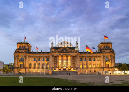 Berlin night city skyline at Reichstag (Bundestag), Berlin, Germany - Stock Photo