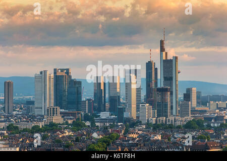 Frankfurt sunrise city skyline at business district, Frankfurt, Germany - Stock Photo
