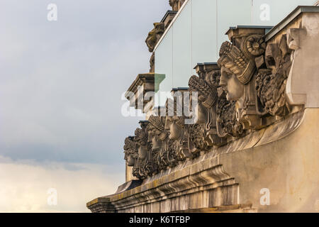 Face of statue at Berlin Reichstag (Bundestag), Berlin, Germany - Stock Photo
