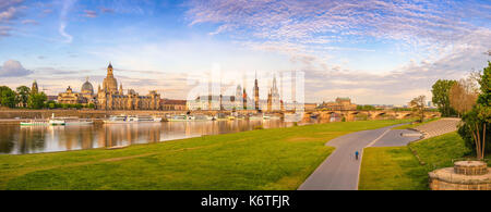 Dresden city skyline panorama at Elbe River and Augustus Bridge, Dresden, Germany - Stock Photo