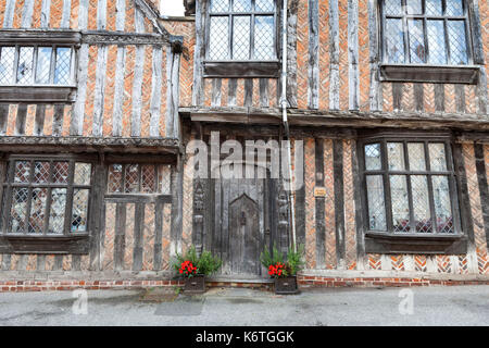 Timber framed medieval houses in Lavenham, Suffolk, England - Stock Photo