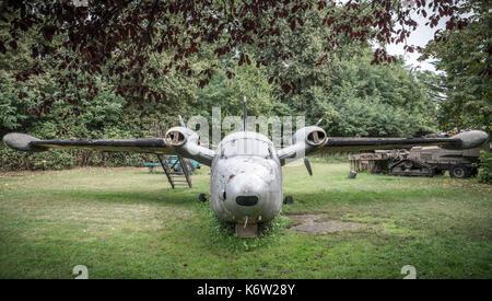 Piaggio P.166 ML1, 303-38, ex AMI Italian aircraft in a museum in Italy - Stock Photo