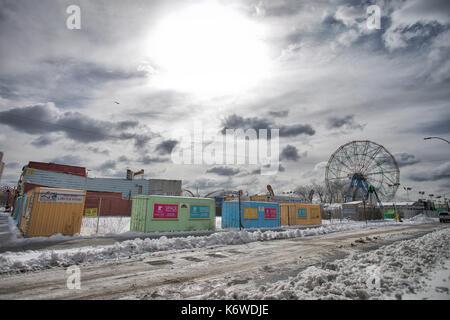 Cyclone CONEY ISLAND, NEW YORK, USA - MARCH 2017 - Coney Island Luna Park arounds closed in winter. - Stock Photo