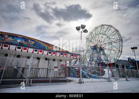Cyclone CONEY ISLAND, NEW YORK, USA - MARCH 2017 - Coney Island; Luna Park arounds closed in winter. - Stock Photo