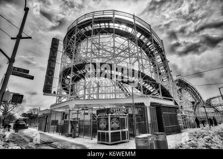 Cyclone CONEY ISLAND, NEW YORK, USA - MARCH 2017 - Coney Island'S Luna Park arounds closed in winter. View of the - Stock Photo