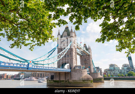 Tower Bridge over the Thames, Southwark, London, England, Great Britain - Stock Photo
