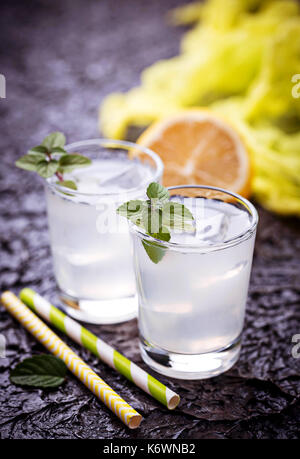 Cold drink with lemon and mint - Stock Photo