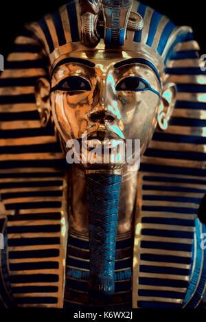 Tutankharmun Face Mask, gold, portrait, Egyptians, funerary, death, pharaoh, mummy, icon, King Tut, Museum, Cairo - Stock Photo