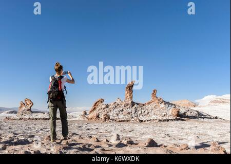 Chile, Antofagasta Region, San Pedro de Atacama, the site of the three Maria in Valle de la Luna in the Atacama - Stock Photo